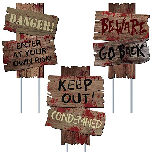 """UFUNGA Beware Signs Yard Stakes Halloween Decorations Outdoor Creepy Assorted Warning Sign,Scary Zombie Party Decor Supplies,3 Pieces, 12"""" x 9"""""""