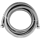 "Luxe Bidet Hot Water Metal Braided Hose with 3/8"" and 1/4"" ends (9 ft)"