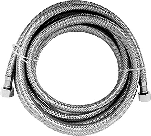 """Luxe Bidet Hot Water Metal Braided Hose with 3/8"""" and 1/4"""" ends (9 ft)"""