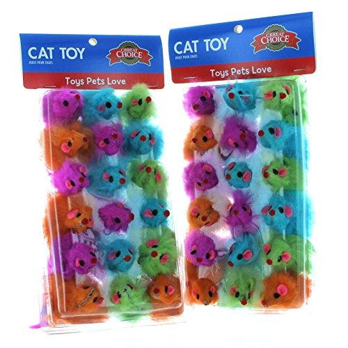 Furry Mice Cat Toys - 18pk Bright Furry Mouse Cat Toys Realistic Mice Tail Pets Grreat Choice Lot Bulk