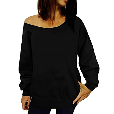Dutebare Women Off Shoulder Sweatshirt Slouchy Shirt Long Sleeve Pullover Tops at Women's Clothing store