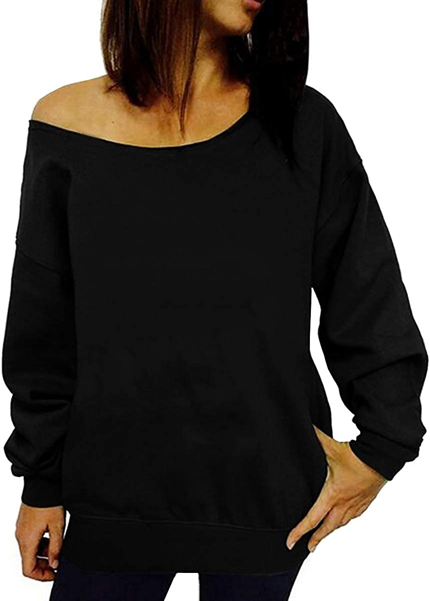 XL Black BKpearl Women Halloween Off Shoulder Sweatshirt Slouchy Witch Shirt Long Sleeve Pullover Tops