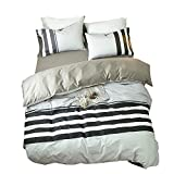 ORoa Striped Queen Duvet Cover Sets Multi Color 3 Piece Bedding Set for Teens with 2 Pillow Shams (Queen/Full, Style 3) No Comforter