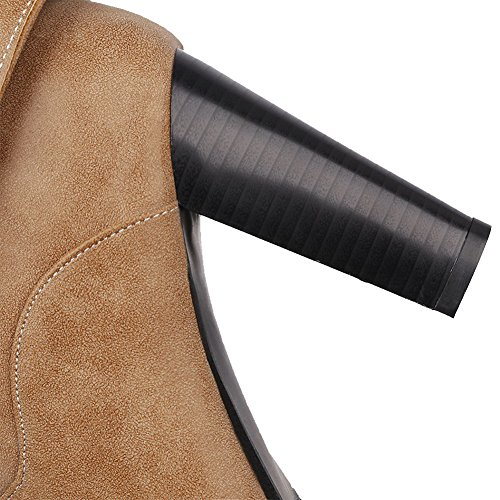 Allhqfashion Women's Lace up Round Closed Toe High Heels Pu Solid Boots Brown 0svRu