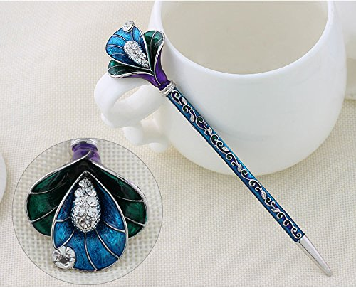 Hair Sticks Pins Jewelry (Antique Hair Sticks Reliefs Floral Designs Lotus Crystal Rhinestone Chinese Style Hairpin Fashion Jewelry For Women (Blue))