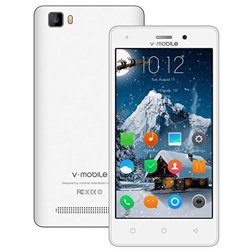 Unlocked Cell Phones V Mobile A10 4G Android 8.1, 5.2 Inch Quad-core HD Unlock Smartphone, Android Phone 16GB ROM, Dual SIM Free Phones Camera 5MP, 2800 mAh Battery, Bluetooth 4.1 (White)
