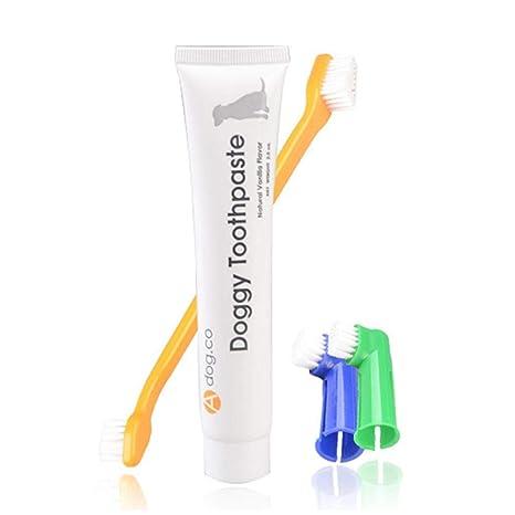 Auoker Kit de limpieza de dientes para mascotas, para perro/gato, pasta de dientes y cepillos ...