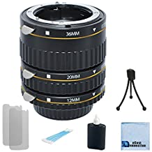 Auto Focus Macro Extension Tube Set for Nikon D5500, D810, D750, D300, D300S, D600, D700, D800, D800E, D3000, D3100, D3300, D3200, D5000, D5100, D5200, D5300, D7000, D7100 DSLR Camera + Complete Starter Kit