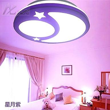 GQLB Luce da soffitto LED da sogno una protezione per gli occhi lampada da soffitto camera da letto semplice luce moderno round star luna Bambini Camera balcone luci di illuminazione (350mm * 90mm), viola [Classe di efficienza energetica A++] CCeiling ligh