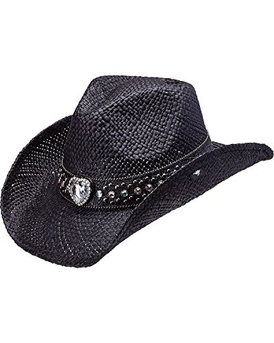Peter Grimm Ltd Women's Coburn Bling Heart Straw Cowgirl Hat Black One Size