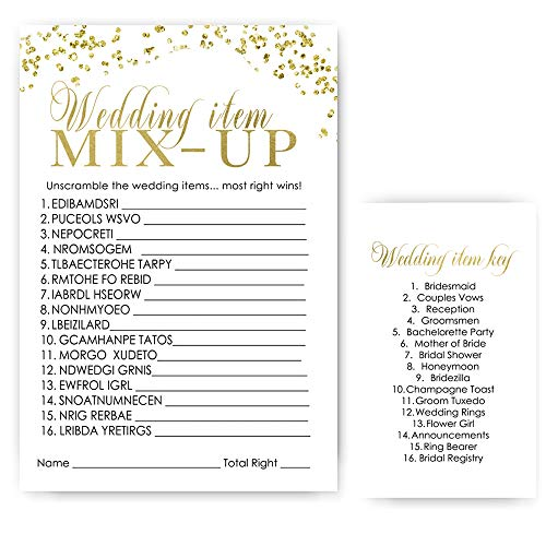 (Bridal Shower Word Scramble Game - Black and Gold - 25 Pack)