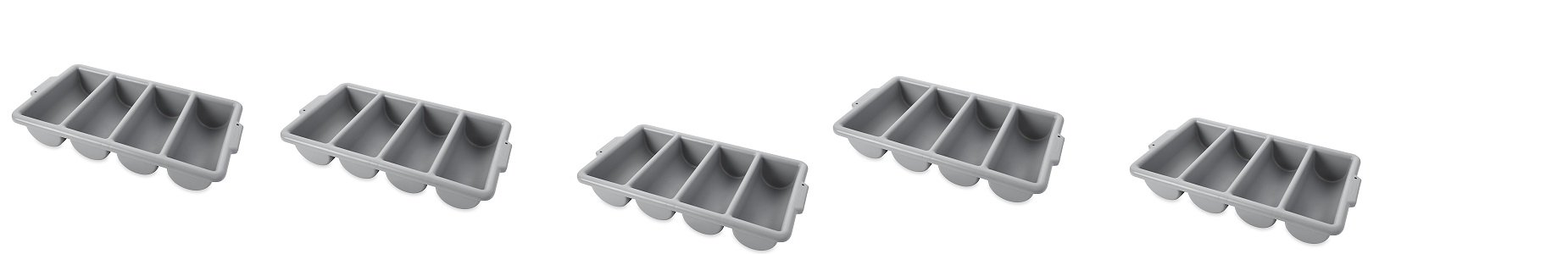 Rubbermaid Commercial FG336200GRAY 4-Compartment Cutlery Bin, Gray (5 PACK,) by Rubbermaid Commercial Products