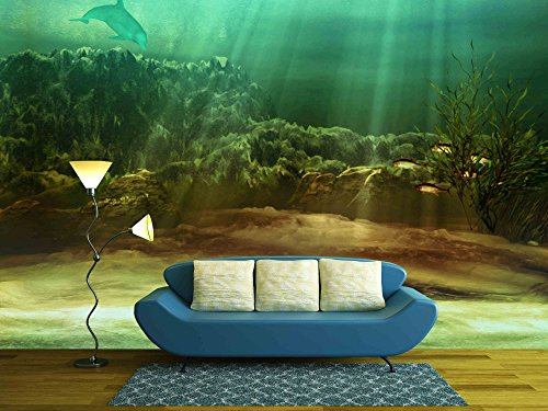 wall26 - an Underwater Landscape with Fishes and Dolphin - Removable Wall Mural | Self-adhesive Large Wallpaper - 66x96 inches (Murals Underwater Wall)