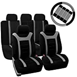 95 camaro seats - FH Group FH-FB070115+FH2033 Sports Fabric Car Seat Covers, Airbag compatible and Split Bench with Steering Wheel Cover, Seat Belt Pads Gray- Fit Most Car, Truck, Suv, or Van