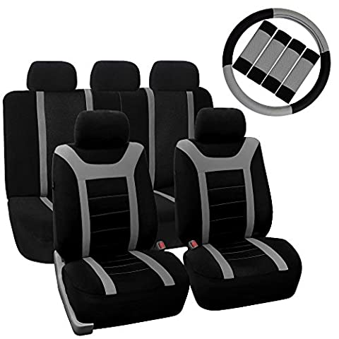 FH GROUP FH-FB070115+FH2033 Sports Fabric Car Seat Covers, Airbag compatible and Split Bench with Steering Wheel Cover, Seat Belt Pads Gray- Fit Most Car, Truck, Suv, or (2012 Honda Fit Seat Covers)