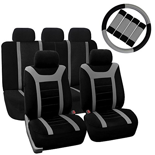 - FH Group FH-FB070115+FH2033 Sports Fabric Car Seat Covers, Airbag Compatible and Split Bench with Steering Wheel Cover, Seat Belt Pads Gray- Fit Most Car, Truck, SUV, or Van