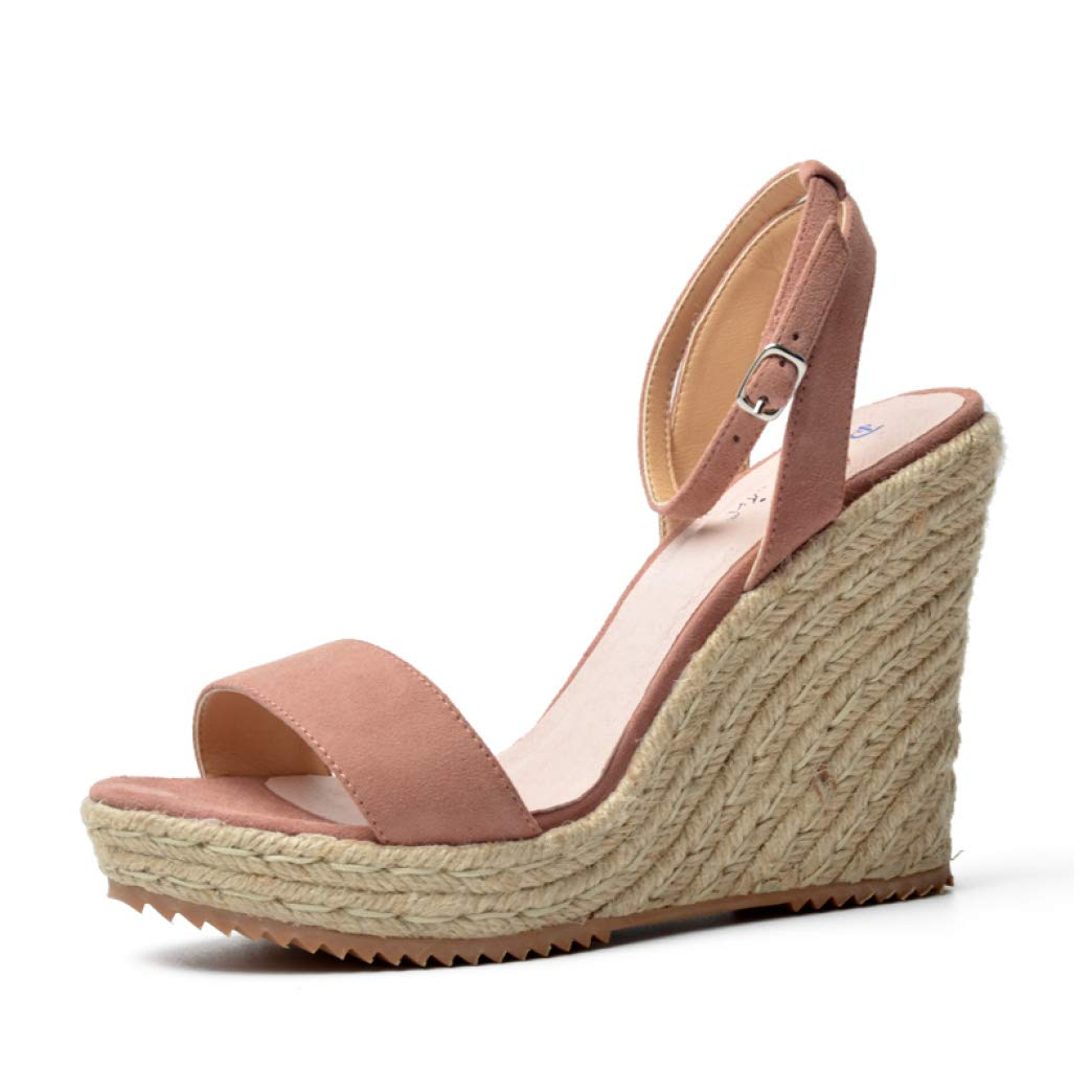 Pink Suede T-JULY Women Platform Sandals Wedge Genuine Leather High Heels Open Toe Ladies shoes Brand Fashion Black Pink bluee Summer