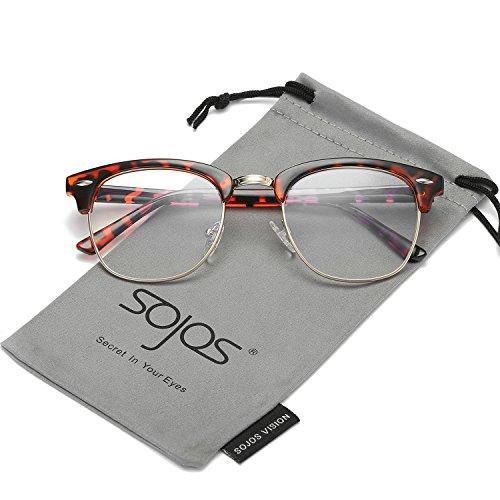 SojoS Clubmaster Semi Rimless Polarized Sunglasses Clear Lens Eyeglasses SJ5018 With Tortoise Frame/Gold - Eyeglasses Rimless