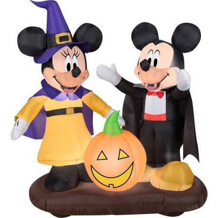 4.5' Tall Disney Mickey and Minnie Pumpkin Halloween Airblown Inflatable