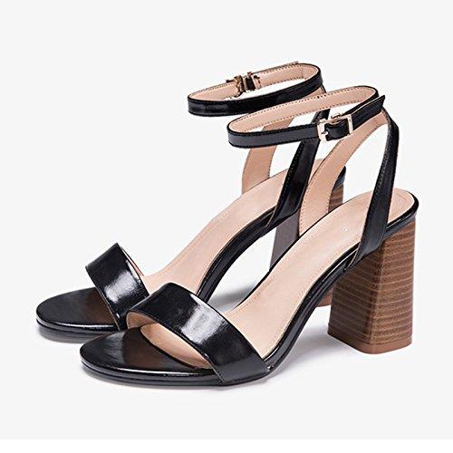 Y De Tacones Negro Y De Hebilla De Una Mujer Informales Primavera JIANXIN Tacón con Mujer En Alto Verano Palabra De Zapatos Sandalias para w7Zq4f6n