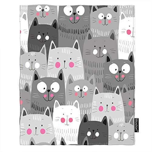 Moslion Cat Blanket Cute Cartoon Animal Kitten Head Doodle Smile Throw Blanket Flannel Home Decorative Soft Cozy Blankets 40x50 Inch for Baby Kids Pet Grey White Black