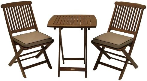 Outdoor Interiors Eucalyptus 3 Piece Square Bistro Outdoor Furniture Set – includes cushions