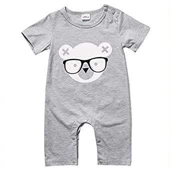 Charm Kingdom Baby Boys' Jumpsuit Animal Cartoon Romper Clothes 70 (0-6M) Grey