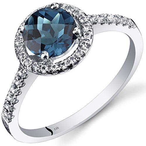 14K White Gold London Blue Topaz Halo Ring Round Checkerboard Cut 1.25 Carats Size 9