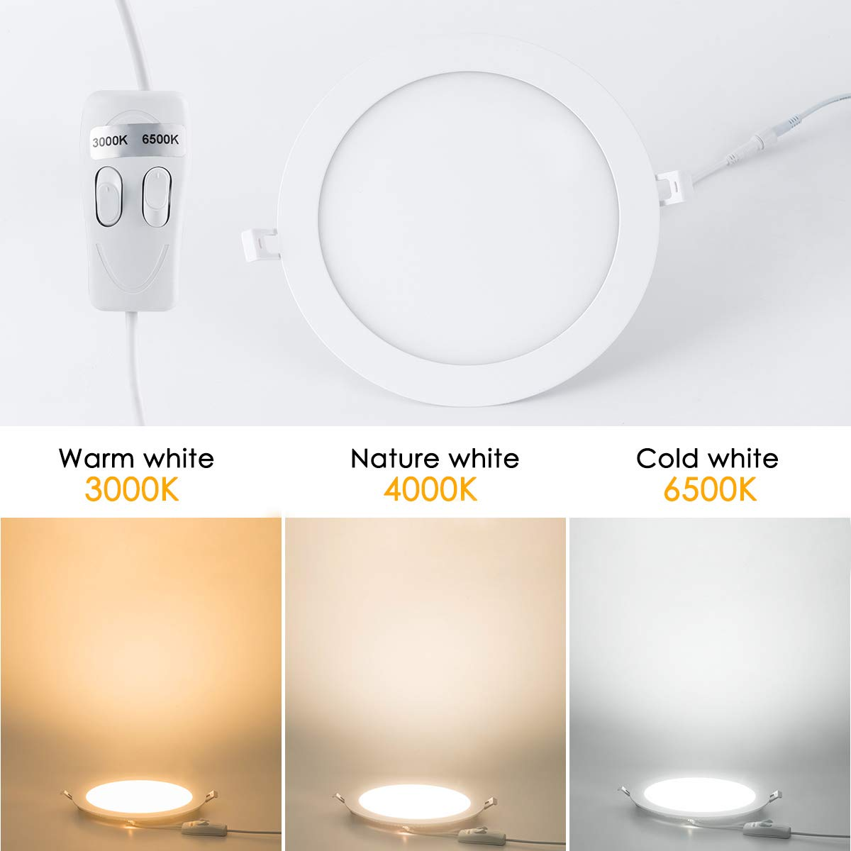 7 inch ultra thin round led panel light fcc certified recessed ceiling down lighting 3 colors cri80 6500k 4000k 3000k 15w for office home