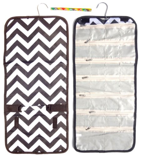 Unique Large Black White Chevron Christmas Clearance Best Gift Idea Quirky Weird Accessories Hanging Jewelry Hanger Travel Bag Roll Organizer Unique Travelers Pack for Her Girl Boy Youth Nurse