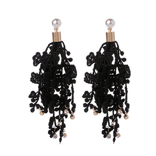 Kofun Earrings, Boho Lace Tassel Dangle Drop Statement Earrings Women Wedding Pendant Jewelry Black -