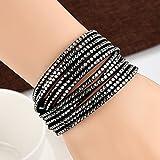 Wensltd Clearance! Women Multilayer Bangle Bracelet Double Wrap Leather Beaded Bracelets (D)