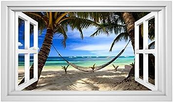 155 Wandtattoo Fenster Wandbild Wohnzimmer Schlafzimmer Palmen Strand Südsee