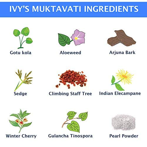 Original Ivy's Mukta Vati – Natural Ayurvedic Blood Pressure Support – 120  Tablets With Eight Major
