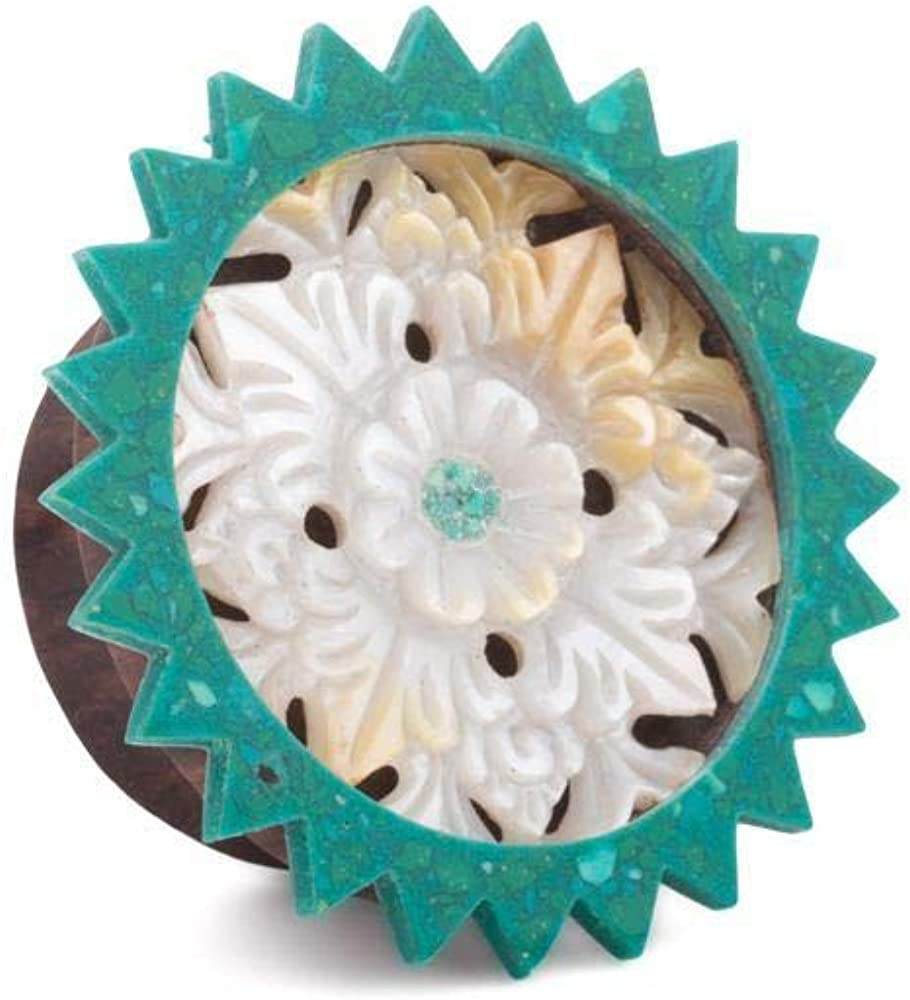 Elementals Organics Sono Wood Plug for Ear – Turquoise Inlaid Mother of Pearl Flower