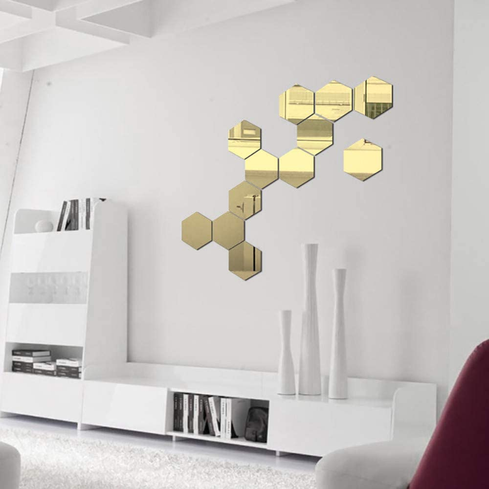 VEZARON 3D Mirror Hexagon Wall Decals Black 36Pcs Large Removable Acrylic Mirror Wall Stickers for Home Living Room Bedroom Decor