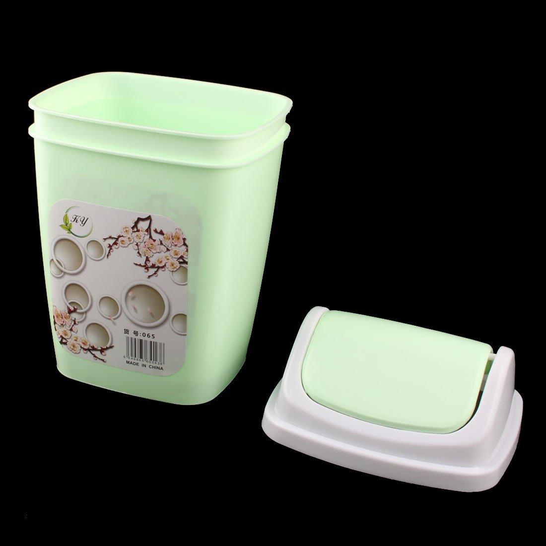 eDealMax plástico Home Office Desktop Titular de basura La basura contenedor de residuos del Caso Bin luz Verde