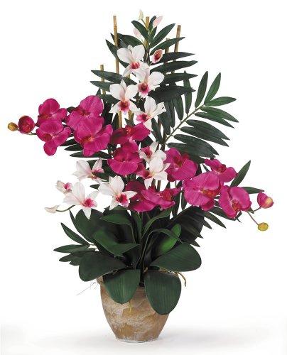 Nearly Natural 1071-BW Double Phalaenopsis/Dendrobium Silk Flower Arrangement, Beauty/White
