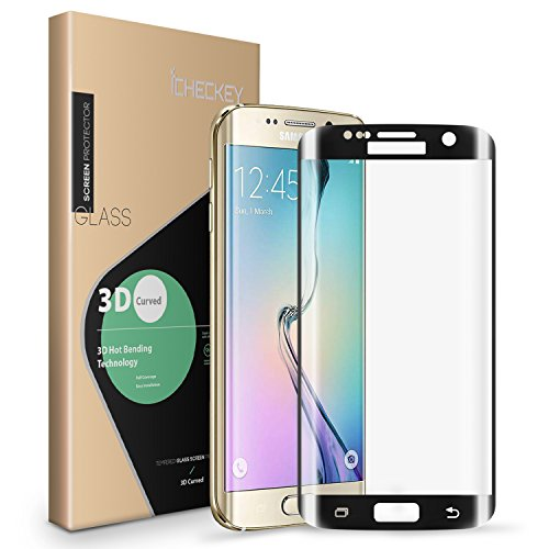 2 Pack-Galaxy S7 edge Screen Protector, Icheckey Ultra-thin 3D Curved Screen Printing Full Coverage Tempered Glass Screen Cover Protector for Samsung Galaxy S7 edge-Black