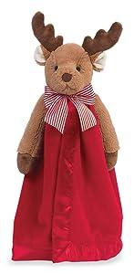 Bearington Baby Lil' Reindeer Snuggler, Christmas Security Blanket, Lovey 15 inches