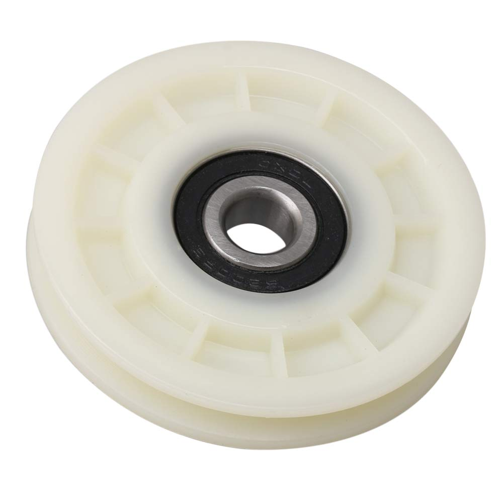 CNBTR Creamy White Nylon Bearing Steel Cable Pulley Wheel Bearing V Shape Groove Idler Pulley 12x70x14mm Load-Bearing 155KG for Gym Equipment