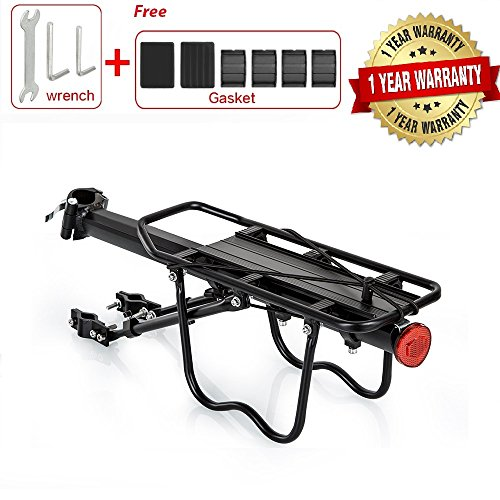 DGCUS Bike Carrier Rack-55lb 25KG Capacity Solid Adjustable Alloy Rear Bicycle Pannier Carrier Cargo Rack with Reflector