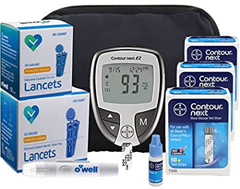 Bayer Contour NEXT Diabetes Testing Kit - Bayer Contour EZ Meter, 150 Contour NEXT Blood Glucose Test Strips, 150 OWell Lancets 30g, Lancing Device, Control Solution, Manual, Log Book & Carry