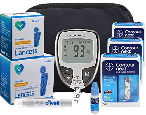Bayer Contour NEXT Diabetes Testing Kit - Bayer Contour EZ Meter, 150 Contour NEXT Blood Glucose Test Strips, 150 OWell Lancets 30g, Lancing Device, Control Solution, Manual, Log Book & Carry Case