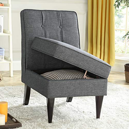 24KF Modern Linen Upholstered Tufted Accent Chair with Storage,Padded Chair -Dark Gray