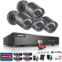 ANNKE 720P HD-TVI Security Camera System 1080N DVR Video Recorder with 1TB Surveillance Hard Disk Drive Pre-installed and (4) 1280TVL Weatherproof Cameras with Build-in IR-cut filter