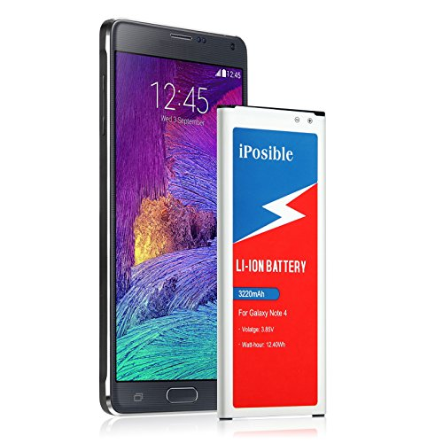 Note 4 Battery |iPosible(3220 mAh)Li-Ion Battery for Samsung Galaxy Note 4 [N910, N910U LTE, AT&T N910A, Verizon N910V, Sprint N910P, T-Mobile N910T] Note4 Spare Battery