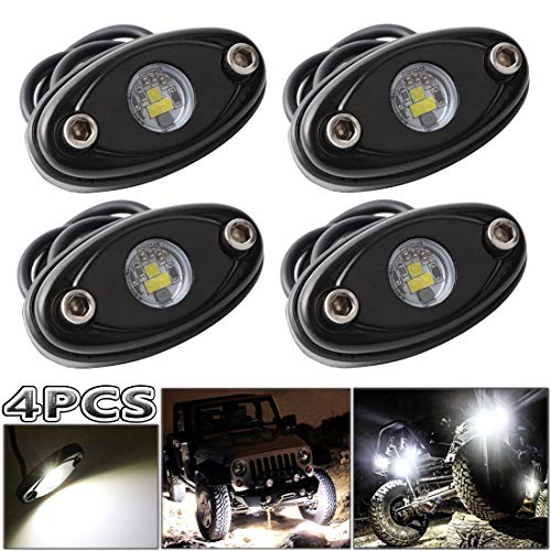 LEDMIRCY LED Rock Lights White Kit for JEEP Off Road Truck Auto Car Boat ATV SUV Waterproof High Power Underbody Neon Trail Rig Lights Underglow Lights Interior Exterior Shockproof(4PCS White) ()