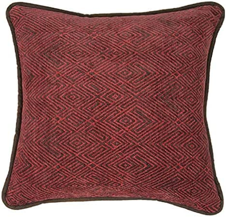 HiEnd Accents Wilderness Ridge Chenille Faux Leather Reverse Throw Pillow, 1 6 x 1 6 , Red