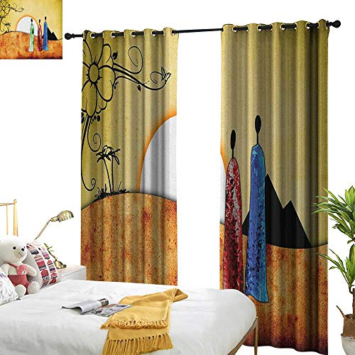 Light Luxury high-end Curtains African African People Facing Large Sun in Savannah Desert Boho Tribal Wildlife Illustration for Living, Dining, Bedroom (Pair) W96 x L108 Multi ()